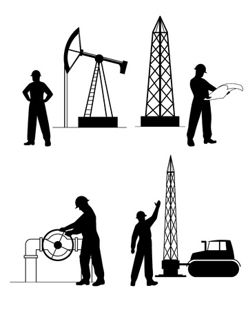 worker: Vector illustration of a  silhouette oilman background in  infrastructure Illustration