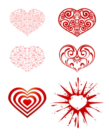 Vector illustration of a series of hearts Иллюстрация