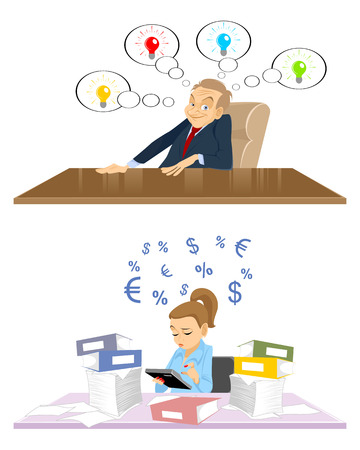 accountants: Vector illustration of a creativity director and accountant Illustration