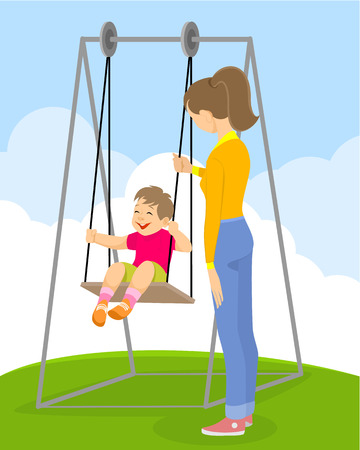 Vector illustration of a  child on a swing Иллюстрация