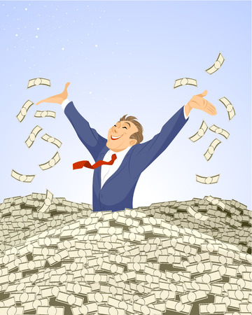 Vector illustration of a  businessman swimming in money
