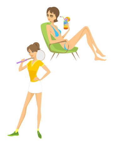 teenage girl bikini: Vector illustration of a contemporary girl on white