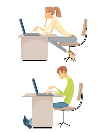 Vector illustration of a  girl and guy at the computers