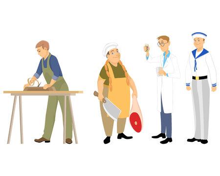 Vector illustration of a four professions men