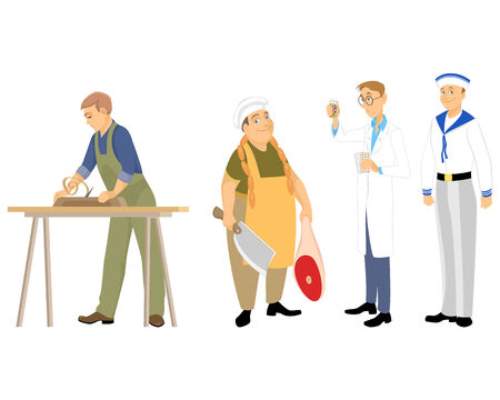 Vector illustration of a four professions men