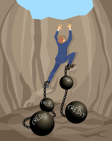 bailout: Vector illustration of a man in debt hole