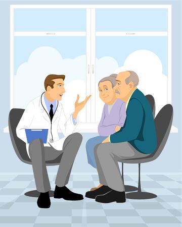 consulta médica: Ilustración vectorial de un jubilado pareja en la clínica