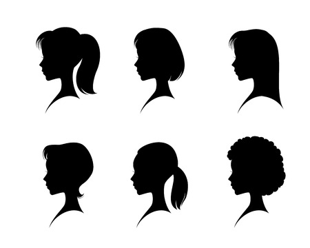 from side: Vector illustration of a silhouettes head girls