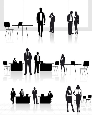 Vector illustration of a group of people in office