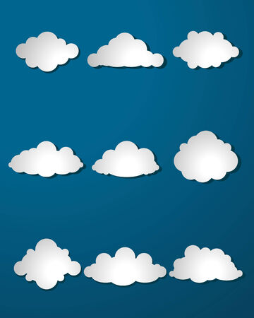 Vector illustration of a clouds set on blue