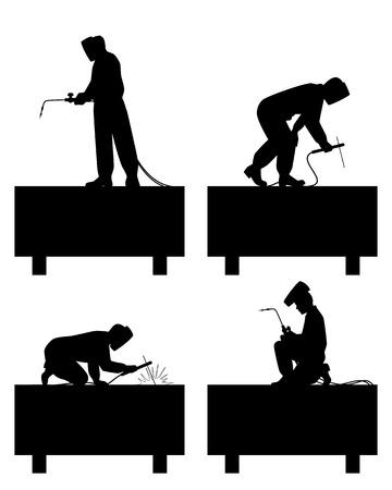 Vector illustration of a welders welding pipe
