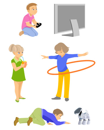 Vector illustration of a children on white Иллюстрация