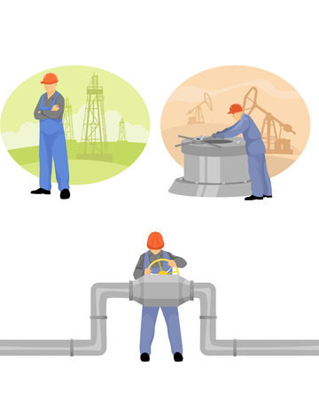 Vector illustration of a oilman background in  infrastructure Иллюстрация