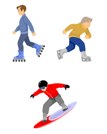 Vector illustration of skiers boys set on white Иллюстрация