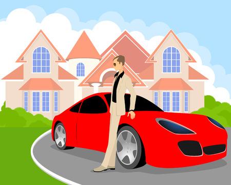 Vector illustratie van een rijke jonge man Stock Illustratie