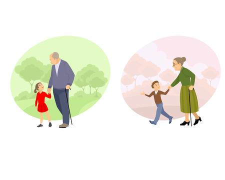 the offspring: Ilustraci�n vectorial de un abuelo caminando con descendencia
