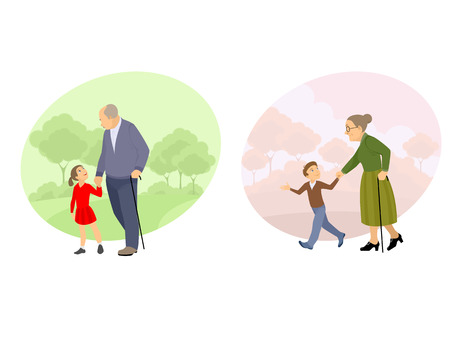 Vector illustration of a grandparent walking with offspring Иллюстрация