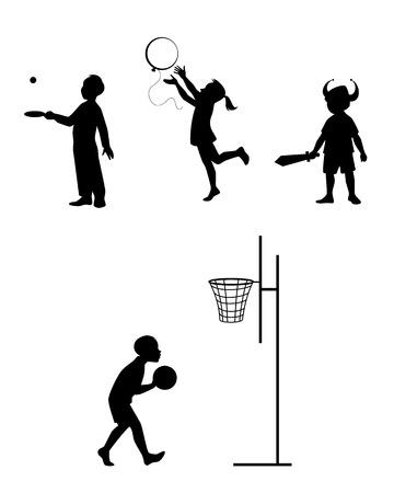 balon baloncesto: Vector ilustración de un siluetas de niños que juega el sistema