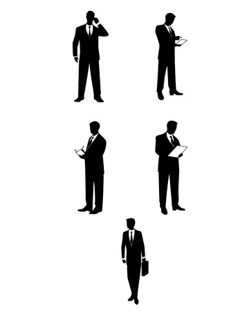 Vector illustration of a businessmen silhouettes with accessories