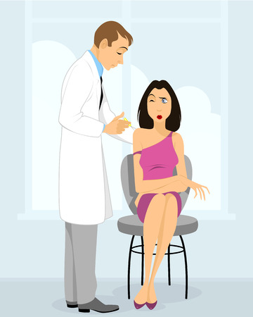 hospital gown: Vector illustration of a doctor doing injection