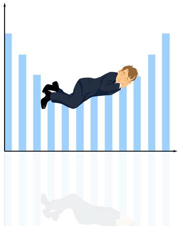 Vector illustration of a  sleeping businessman on  graphic Фото со стока - 37633249