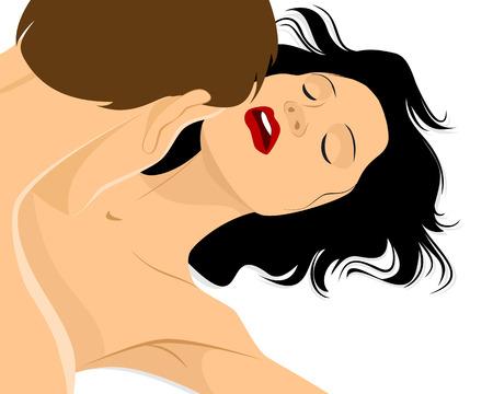 sexo femenino: Ilustración vectorial de la pasión del amor pareja