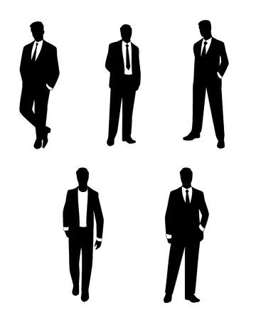 silueta humana: Vector ilustración de un siluetas de hombres de negocios fijó Vectores