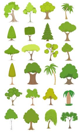 trees illustration: Vector illustration of a green trees set