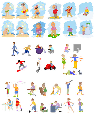 Vector illustration of images of children set
