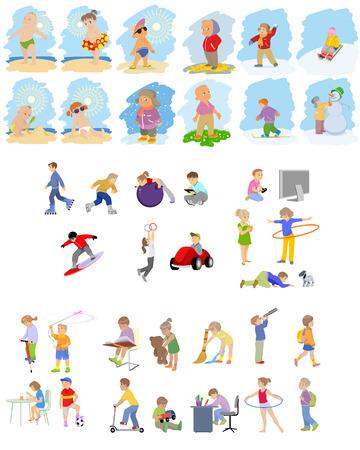 sledge dog: Vector illustration of images of children set
