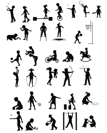 Vector illustration of a playing children silhouettes set