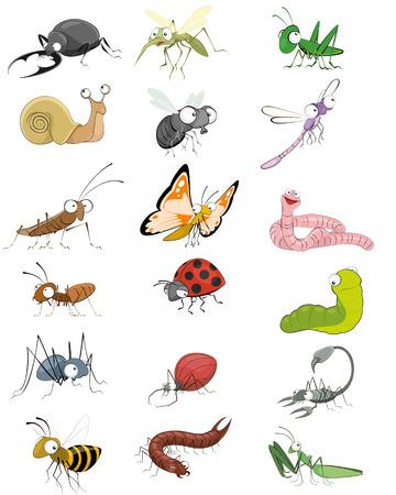 hormiga caricatura: Ilustraci�n vectorial de un iconos insectos Juego