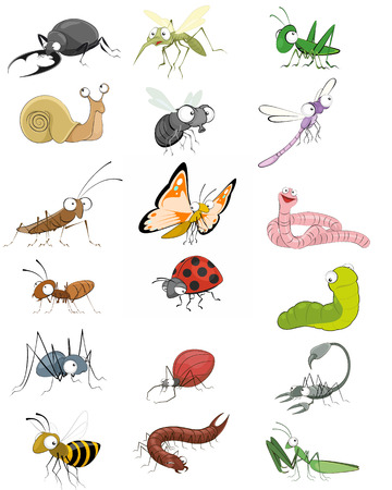 Vector illustration of an icons insects set Vectores