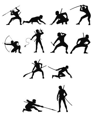 halberd: Vector illustration of a ninja silhouettes set