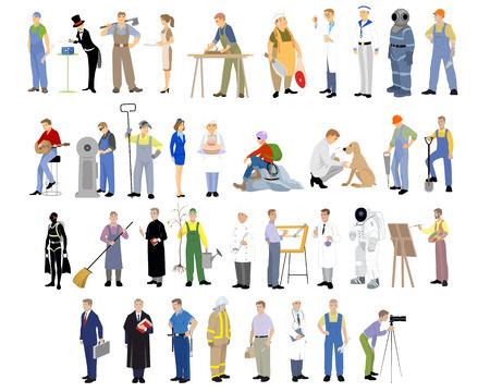 bombero: Ilustraci�n vectorial de un diferentes profesiones ajustado Vectores