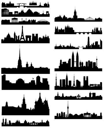 Vector illustratie van een zwart silhouet van beroemde steden Stock Illustratie
