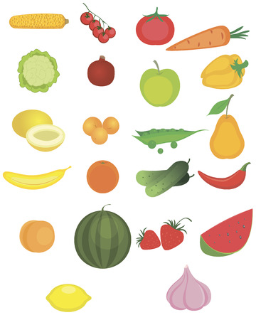 Vector illustration of a fruits and vegetables set