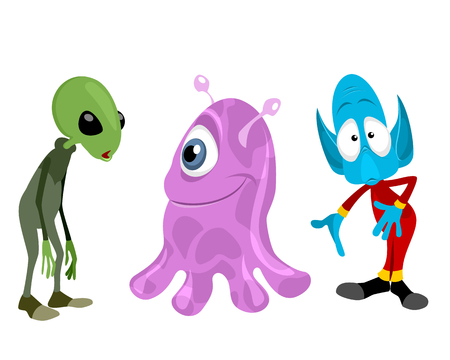 ugly gesture ugly gesture: Vector illustration of a three aliens set Illustration