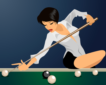 game of pool: Vector illustration of a girl plays billiards