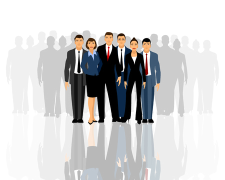 Vector illustration of a big business team