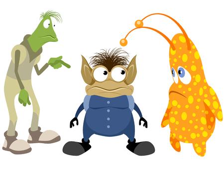funny monster: Vector illustration of a three aliens set Illustration