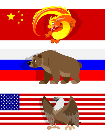 Vector illustration of a three different flags Фото со стока - 49745655