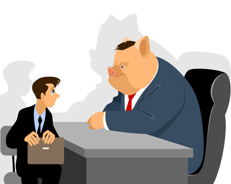 functionary: Vector illustration of a businessman at reception official