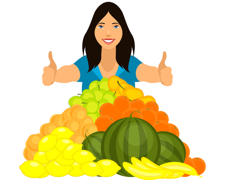 eat cartoon: Vector illustration of a healthy girl with fruits pyramid Illustration