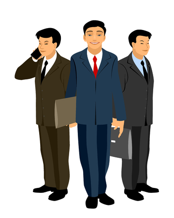 asian business: Vector illustration of a asian business team