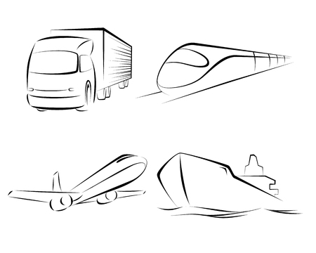 means of transportation: Vector illustration of a  means of transportation set