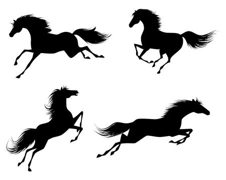 Vector illustratie van een vier paarden silhouetten Stock Illustratie