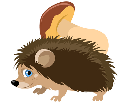 Vector illustration of a funny hedgehog with mushroom