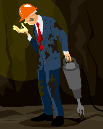 nugget: Vector illustration of a businessman standing with nugget Illustration
