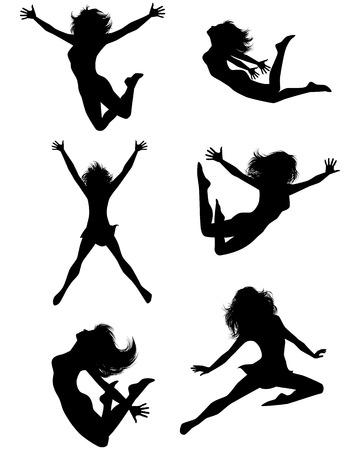 people jumping: Ilustración vectorial de un niño de seis adolescentes que saltan